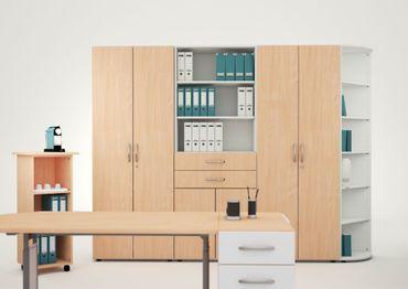 Schiebetürenschrank Büro, Büroschrank aus Holz,Oberboden 25 mm, mit Standfüßen, abschließbar, 800x425x1182, Buche/Buche – Bild 3