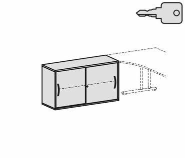 Anstell-Schiebetürenschrank Büro, Büroschrank aus Holz,Oberboden 25 mm, mit Stellfüßen, abschließbar, 1200x425x720, Ahorn/Ahorn – Bild 2