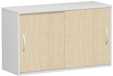 Anstell-Schiebetürenschrank Büro, Büroschrank aus Holz,Oberboden 25 mm, mit Stellfüßen, abschließbar, 1200x425x720, Ahorn/Lichtgrau