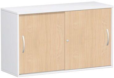 Anstell-Schiebetürenschrank Büro, Büroschrank aus Holz,Oberboden 25 mm, mit Stellfüßen, abschließbar, 1200x425x720, Buche/Weiß – Bild 1