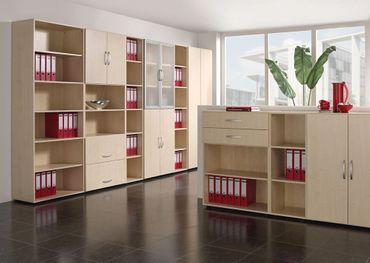 Schiebetürenschrank Büro, Büroschrank aus Holz,Oberboden 25 mm, mit Standfüßen, abschließbar, 1200x425x798, Ahorn/Ahorn – Bild 4