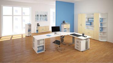Schiebetürenschrank Büro, Büroschrank aus Holz,Oberboden 25 mm, mit Standfüßen, abschließbar, 1200x425x798, Ahorn/Weiß – Bild 3