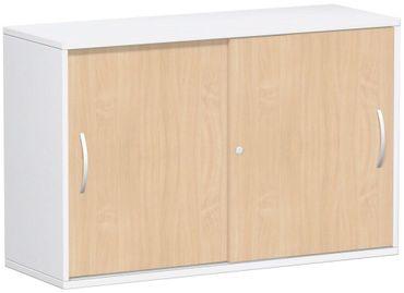 Schiebetürenschrank Büro, Büroschrank aus Holz,Oberboden 25 mm, mit Standfüßen, abschließbar, 1200x425x798, Buche/Weiß – Bild 1