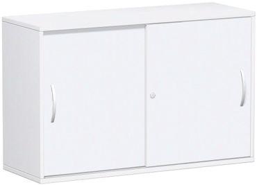 Schiebetürenschrank Büro, Büroschrank aus Holz,Oberboden 25 mm, mit Standfüßen, abschließbar, 1200x425x798, Weiß/Weiß – Bild 1
