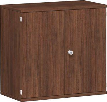 Flügeltürenschrank, Büroschrank aus Holz, 1 Dekor-Einlegeboden, abschließbar, 800x425x768, Nussbaum/Nussbaum – Bild 1