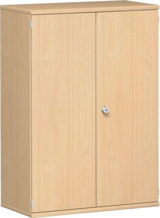Flügeltürenschrank, Büroschrank aus Holz, 2 Dekor-Einlegeböden, abschließbar, 800x425x1152, Buche/Buche – Bild 1