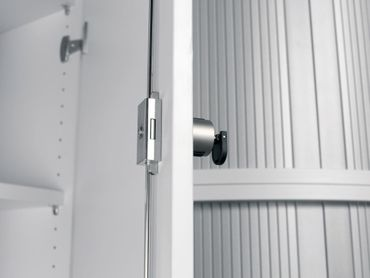 Flügeltürenschrank, Büroschrank aus Holz, 2 Dekor-Einlegeböden, abschließbar, 800x425x1152, Graphit/Graphit – Bild 3