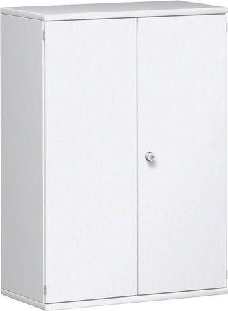 Flügeltürenschrank, Büroschrank aus Holz, 2 Dekor-Einlegeböden, abschließbar, 800x425x1152, Weiß/Weiß – Bild 1