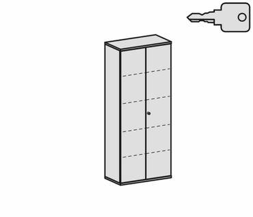 Flügeltürenschrank, Büroschrank aus Holz, 4 Dekor-Einlegeböden, abschließbar, 800x425x1920, Buche/Buche – Bild 2