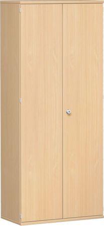 Flügeltürenschrank, Büroschrank aus Holz, 4 Dekor-Einlegeböden, abschließbar, 800x425x1920, Buche/Buche – Bild 1