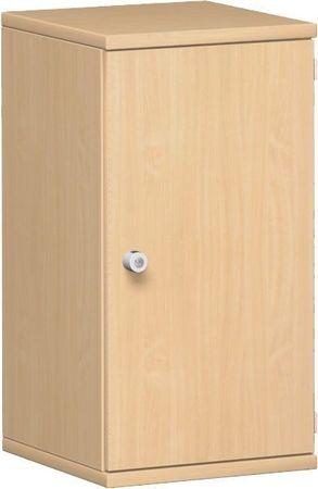 Flügeltürenschrank, Büroschrank aus Holz, 1 Dekor-Einlegeboden, abschließbar, Schloss links, 400x425x768, Buche/Buche – Bild 1
