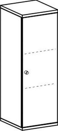 Flügeltürenschrank, Büroschrank aus Holz, 2 Dekor-Einlegeböden, abschließbar, Schloss links, 400x425x1152, Lichtgrau/Lichtgrau – Bild 2