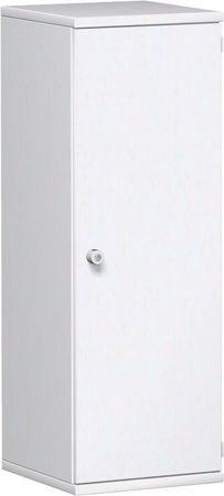 Flügeltürenschrank, Büroschrank aus Holz, 2 Dekor-Einlegeböden, abschließbar, Schloss links, 400x425x1152, Weiß/Weiß – Bild 1