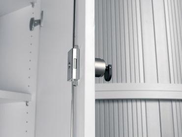 Flügeltürenschrank, Büroschrank aus Holz, 4 Dekor-Einlegeböden, abschließbar, Schloss links, 400x425x1920, Lichtgrau/Lichtgrau – Bild 3