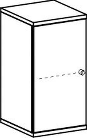 Flügeltürenschrank, Büroschrank aus Holz, 1 Dekor-Einlegeboden, abschließbar, Schloss rechts, 400x425x768, Ahorn/Ahorn – Bild 2