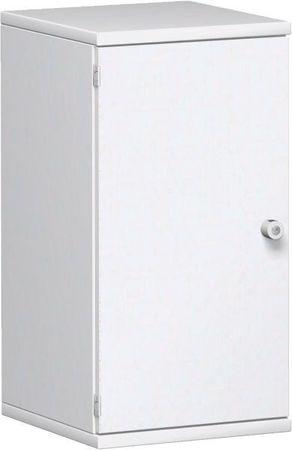 Flügeltürenschrank, Büroschrank aus Holz, 1 Dekor-Einlegeboden, abschließbar, Schloss rechts, 400x425x768, Weiß/Weiß – Bild 1