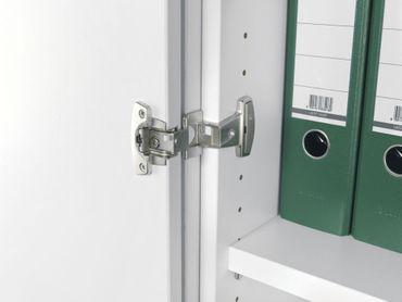 Flügeltürenschrank, Büroschrank aus Holz, 2 Dekor-Einlegeböden, abschließbar, Schloss rechts, 400x425x1152, Nussbaum/Nussbaum – Bild 5