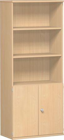 Modulschrank 1. + 2. OH Holztüren, abschließbar, 3. - 5. OH Regal, 3 Dekor-Einlegeböden, 800x425x1920, Buche/Buche – Bild 1