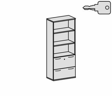 Modulschrank 1. + 2. OH Hängeregistratur mit Zentralverriegelung und Auszugssperre, abschließbar, 3. - 5. OH Regal, 2 Dekor-Einlegeböden, Wandbefestigung erforderlich, 800x425x1920, Graphit/Graphit – Bild 2