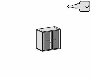 , Rolladenschrank Aktenschrank, Büroschrank aus Holz, 1 Dekor-Einlegeboden, abschließbar, 800x425x768, Silber/Ahorn – Bild 2