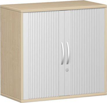, Rolladenschrank Aktenschrank, Büroschrank aus Holz, 1 Dekor-Einlegeboden, abschließbar, 800x425x768, Silber/Ahorn – Bild 1