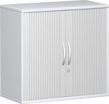 Querrollladenschrank, Rolladenschrank Aktenschrank, Büroschrank aus Holz, 1 Dekor-Einlegeboden, abschließbar, 800x425x768, Silber/Weiß – Bild 1
