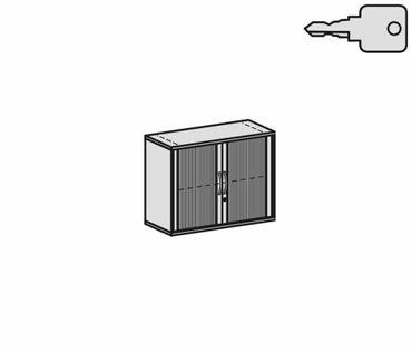 Querrollladenschrank, Rolladenschrank Aktenschrank, Büroschrank aus Holz, 1 Dekor-Einlegeboden, abschließbar, 1000x425x768, Silber/Buche – Bild 2