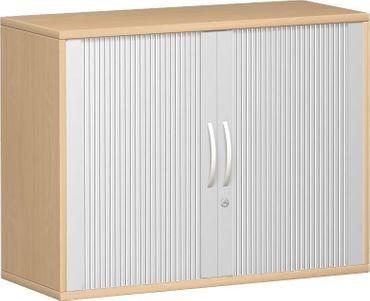 Querrollladenschrank, Rolladenschrank Aktenschrank, Büroschrank aus Holz, 1 Dekor-Einlegeboden, abschließbar, 1000x425x768, Silber/Buche