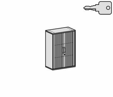 Querrollladenschrank, Rolladenschrank Aktenschrank, Büroschrank aus Holz, 2 Dekor-Einlegeböden, abschließbar, 800x425x1152, Silber/Lichtgrau – Bild 2