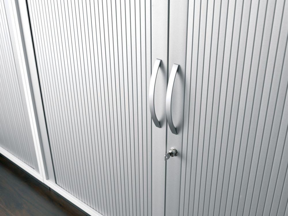 Querrollladenschrank Rolladenschrank Aktenschrank Büroschrank Aus Holz 2 Dekor Einlegeböden Abschließbar 800x425x1152 Silberweiß