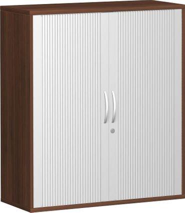 Querrollladenschrank, Rolladenschrank Aktenschrank, Büroschrank aus Holz, 2 Dekor-Einlegeböden, abschließbar, 1000x425x1152, Silber/Nussbaum – Bild 1