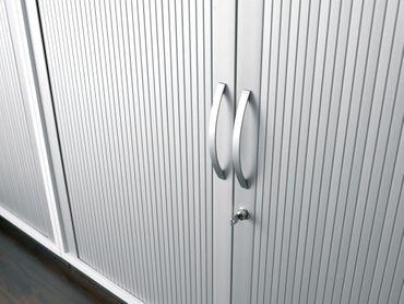 Querrollladenschrank, Rolladenschrank Aktenschrank, Büroschrank aus Holz, 2 Dekor-Einlegeböden, abschließbar, 1000x425x1152, Silber/Nussbaum – Bild 3