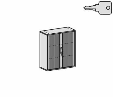 Querrollladenschrank, Rolladenschrank Aktenschrank, Büroschrank aus Holz, 2 Dekor-Einlegeböden, abschließbar, 1000x425x1152, Silber/Weiß – Bild 2