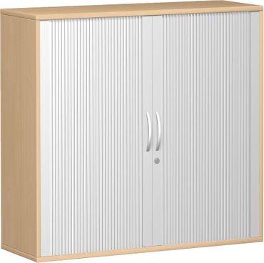 Querrollladenschrank, Rolladenschrank Aktenschrank, Büroschrank aus Holz, 2 Dekor-Einlegeböden, abschließbar, 1200x425x1152, Silber/Buche – Bild 1