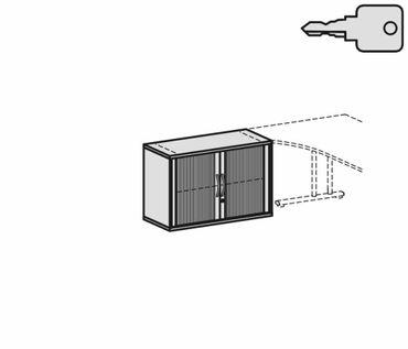 Anstell-Querrollladenschrank, Rolladenschrank Aktenschrank, Büroschrank aus Holz, 1 Dekor-Einlegeboden, mit Stellfüßen, abschließbar, 800x425x720, Silber/Lichtgrau – Bild 2