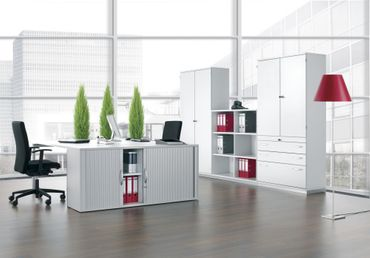 Schiebetürenschrank Büro, Büroschrank aus Holz,1 Dekor-Einlegeboden, abschließbar, 800x425x768, Ahorn/Ahorn – Bild 4
