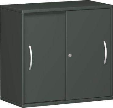 Schiebetürenschrank Büro, Büroschrank aus Holz,1 Dekor-Einlegeboden, abschließbar, 800x425x768, Graphit/Graphit – Bild 1