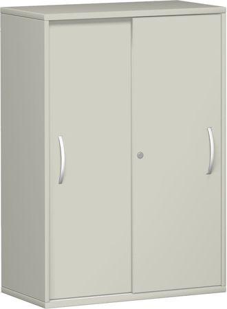 Schiebetürenschrank Büro, Büroschrank aus Holz,2 Dekor-Einlegeböden, abschließbar, 800x425x1152, Lichtgrau/Lichtgrau – Bild 1