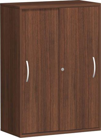 Schiebetürenschrank Büro, Büroschrank aus Holz,2 Dekor-Einlegeböden, abschließbar, 800x425x1152, Nussbaum/Nussbaum – Bild 1