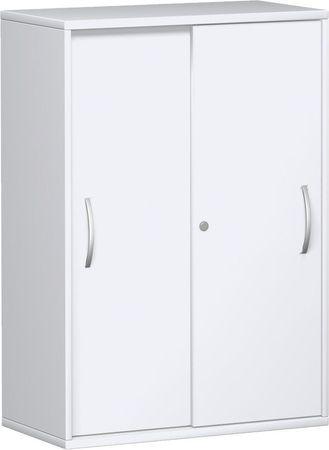 Schiebetürenschrank Büro, Büroschrank aus Holz,2 Dekor-Einlegeböden, abschließbar, 800x425x1152, Weiß/Weiß – Bild 1