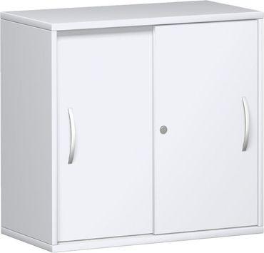 Anstell-Schiebetürenschrank Büro, Büroschrank aus Holz,1 Dekor-Einlegeboden, mit Stellfüßen, abschließbar, 800x425x720, Weiß/Weiß – Bild 1