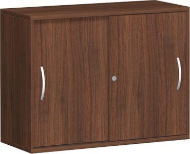 Anstell-Schiebetürenschrank Büro, Büroschrank aus Holz,mit Mittelseite, 2 Dekor-Einlegeböden, mit Stellfüßen, abschließbar, 1000x425x720, Nussbaum/Nussbaum – Bild 1