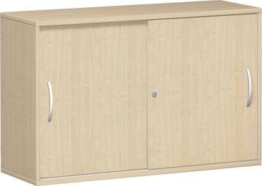 Anstell-Schiebetürenschrank Büro, Büroschrank aus Holz,mit Mittelseite, 2 Dekor-Einlegeböden, mit Stellfüßen, abschließbar, 1200x425x720, Ahorn/Ahorn – Bild 1