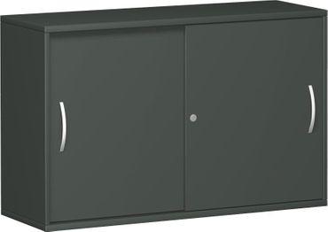 Anstell-Schiebetürenschrank Büro, Büroschrank aus Holz,mit Mittelseite, 2 Dekor-Einlegeböden, mit Stellfüßen, abschließbar, 1200x425x720, Graphit/Graphit