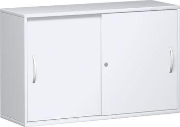 Anstell-Schiebetürenschrank Büro, Büroschrank aus Holz,mit Mittelseite, 2 Dekor-Einlegeböden, mit Stellfüßen, abschließbar, 1200x425x720, Weiß/Weiß