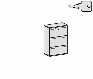 Registraturschrank 3 Hängeregistraturen mit Zentralverriegelung und Auszugssperre, abschließbar, Wandbefestigung erforderlich, 800x425x1152, Buche/Buche – Bild 2