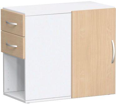 Anstell-Schrank mit Schubkästen, Drehtür mit Türdämpfer links oder rechts verwendbar, mit Stellfüßen, nicht abschließbar, 420x820x720, Buche/Weiß – Bild 1