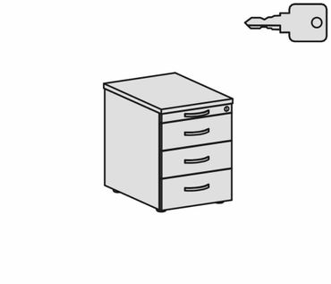 Rollcontainer 3 Kunststoff-Schubfächer und Utensilienschubfach, Metall-Rollschubführung, Zentralverriegelung, verdeckte Doppel-Lenkrollen, 438x600x565, Buche/Buche – Bild 2
