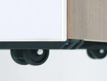 Rollcontainer 3 Kunststoff-Schubfächer und Utensilienschubfach, Metall-Rollschubführung, Zentralverriegelung, verdeckte Doppel-Lenkrollen, 438x600x565, Buche/Buche – Bild 5