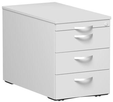 Rollcontainer mit 3 Metall-Schubfächern und Utensilienschubfach, Metall-Rollschubführung, Zentralverriegelung, verdeckte Doppel-Lenkrollen, 438x800x565, Lichtgrau/Lichtgrau